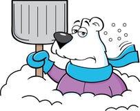 Orso polare del fumetto che tiene una pala della neve Immagine Stock Libera da Diritti