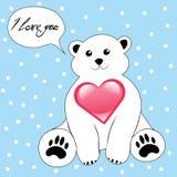 Orso polare del fumetto sveglio con cuore Fotografie Stock Libere da Diritti