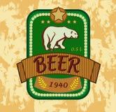 Orso polare, insegne sull'argomento con birra Immagine Stock Libera da Diritti
