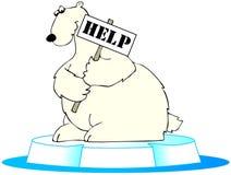 Orso polare nella difficoltà Fotografia Stock Libera da Diritti