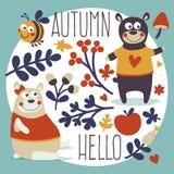 Orso stabilito di autunno animale sveglio, ape, fiore, pianta, foglia, bacca, cuore, amico, floreale, natura, ghianda, fungo Fotografia Stock
