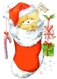 Orso sveglio Cartolina di Natale con l'orsacchiotto sveglio Illustrazione di Teddy Bear dell'acquerello Fondo per la carta dell'i Fotografia Stock Libera da Diritti