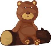 Orso sveglio che si siede sul legname illustrazione di stock