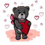 Orso sveglio che tiene un cuore Rosa rossa royalty illustrazione gratis