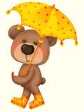Orso sveglio che tiene un ombrello illustrazione vettoriale