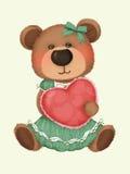 Orso sveglio con il cuscino del cuore Immagini Stock Libere da Diritti