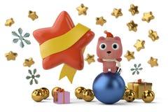 Orso sveglio con le stelle, cartoline di Natale illustrazione 3D illustrazione vettoriale