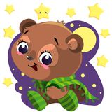 Orso sveglio del fumetto con la coperta che si siede nel vettore di clipart di notte con la luna e le stelle Immagini Stock