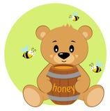 Orso sveglio del fumetto con miele e le api Immagini Stock Libere da Diritti