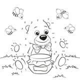 Orso sveglio del fumetto con miele e le api Puntino per punteggiare gioco illustrazione di stock