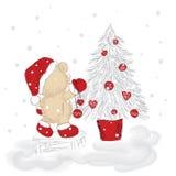 Orso sveglio dell'orsacchiotto Piccolo albero di Natale e di Teddy Bear L'orso è stato disegnato a mano Vettore celebrazione Nuov Fotografia Stock