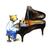 Orso sveglio in un vestito che gioca il jazz del piano Illustrazione disegnata a mano dell'acquerello, arte della parete del mani illustrazione di stock