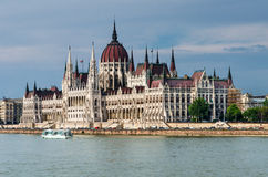 Orszaghaz Parliament in Budapest and Danube River Stock Image