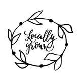 Am Ort gewachsenes Hand gezeichnetes Logo, Aufkleber mit Blumenrahmen Vector Illustration ENV 10 für Lebensmittel und Getränk, Re Lizenzfreie Stockbilder