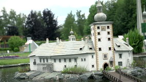 Ort Lake Castle in Gmunden, Austria. Model of Austrian castle situated inthe Traunsee lake Ort Lake Castle in Gmunden positioned in Minimundus in Klagenfurt stock video footage