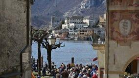 Orta Сан Giulio, озеро Orta, Италия сток-видео