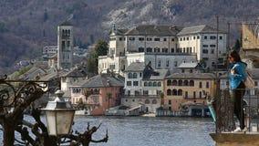 Orta Сан Giulio, озеро Orta, Италия акции видеоматериалы