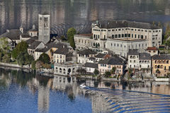 Orta lake. Whith boat and island royalty free stock photo
