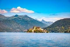 Orta Lake landscape. Orta San Giulio village and island Isola S. Stock Images