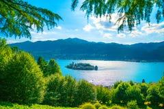 Orta Lake landscape. San Giulio island view from Sacro Monte. It Royalty Free Stock Photo