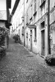 Orta, Piedmont, old street. Black and white photo. Characteristic angle of the small village of Orta, on the shores of the same name lake Piedmont, Northern stock photo
