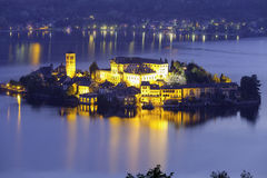 Orta San Giulio island, night view. Color image Stock Photo