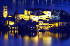 Orta San Giulio island, night view. Color image Stock Image