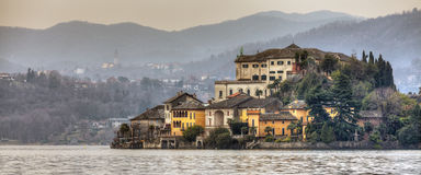 Orta San Giulio island over the Orta Lake Stock Photography