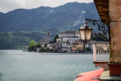 Orta and San Giulio isle. Orta and view of the island of San Giulio royalty free stock photos