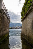Orta and San Giulio isle Stock Photo