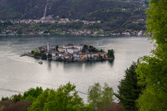 Orta and San Giulio isle. Orta and view of the island of San Giulio stock photos