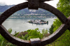 Orta and San Giulio isle. Orta and view of the island of San Giulio royalty free stock images