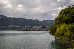 Orta and San Giulio isle. Orta and view of the island of San Giulio stock photography