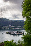 Orta and San Giulio isle. Orta and view of the island of San Giulio royalty free stock image
