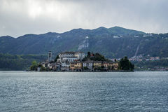 Orta and San Giulio isle Stock Photography