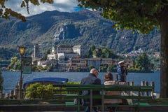 Orta San Giulio, lago Orta, Itália Imagens de Stock