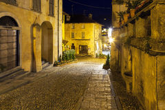 Orta San Giulio old city, night view. Color photo Royalty Free Stock Photo