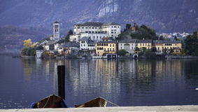 Orta San Giulio and Orta Lake, late fall. Color image Royalty Free Stock Photo