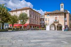 Orta San Giulio, sjö Orta, Italien Royaltyfri Fotografi