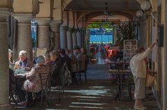 Orta San Giulio, sjö Orta, Italien Fotografering för Bildbyråer