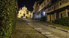 Orta San Giulio street Albertoletti on lake Orta, at night, Italy royalty free stock photos