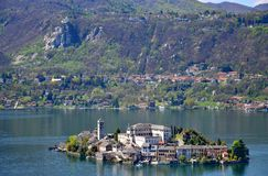 Orta See, Insel Sans Giulio Stockfotografie