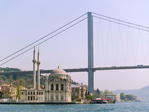 Ortacoi Mosque and the Bosphorus Bridge Royalty Free Stock Photography