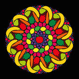 Ortaggi da frutto Mandala Black Immagini Stock Libere da Diritti