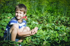 Ortaggi freschi felici di raccolto del bambino nel giardino al giorno di estate Famiglia, sano, facente il giardinaggio, concetto Immagini Stock