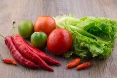 Ortaggi freschi: i peperoncini rossi rossi, uccelli osservano i peperoncini rossi, la lattuga, il pomodoro rosso ed il pomodoro v Fotografia Stock Libera da Diritti