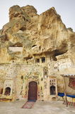 Ortahisar Castle with Ortahisar Evi Restaurant Wine House, Ottoman House - Cappadocia, Turkey Stock Images