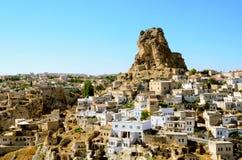 Ortahisar cave city in Capapdocia, Turkey Royalty Free Stock Photos