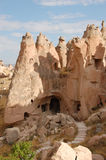 Ortahisar cave city in Cappadocia - Landscape, Turkey. City in Cappadocia - Landscape, Turkey Stock Photo