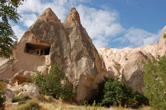 Ortahisar cave city in Cappadocia - Landscape, Turkey Stock Image